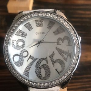 White Guess watch.